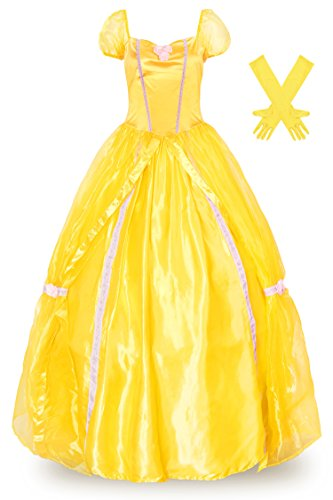 Belle Gown Costume (JerrisApparel Women Adult Princess Belle Classic Costume Dress Gown with Gloves (6-8, Yellow))
