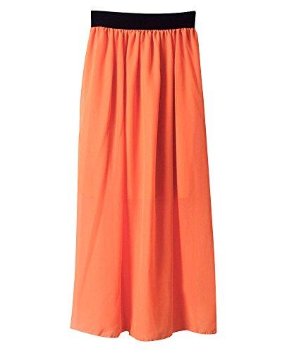 Longue Casual lastique de Jupe Soie Midi de Orange lgant Jupe Soie Pliss Mousseline en Taille Mesdames Femmes Mousseline 0q7dppx