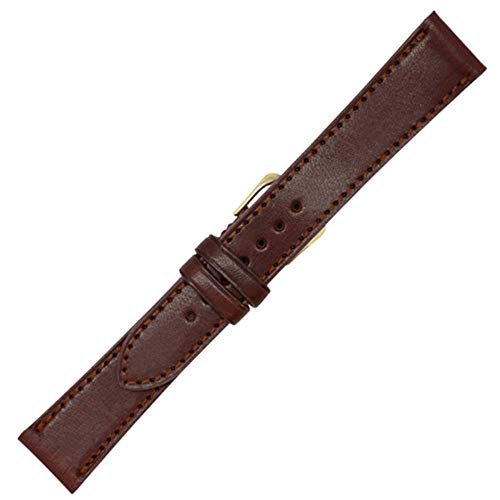 22mm British Brown - English Bridle Leather - Flat Stitched Watch Strap Band - Gold and Silver Buckles Included - Factory Direct - Made in USA by Real Leather Creations FBA226
