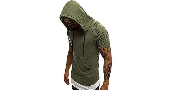 Amazon.com: yieg-mx Mens Pullover Hoodie plisado Manga Corta Camiseta con Capucha Sudadera 1 L: Clothing