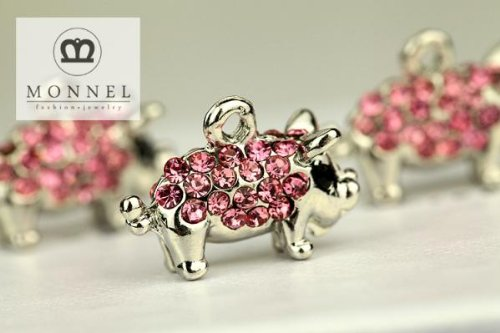 H498 Cute 3 pcs Hot Pink Crystal Pig Animal Charm Pendant -
