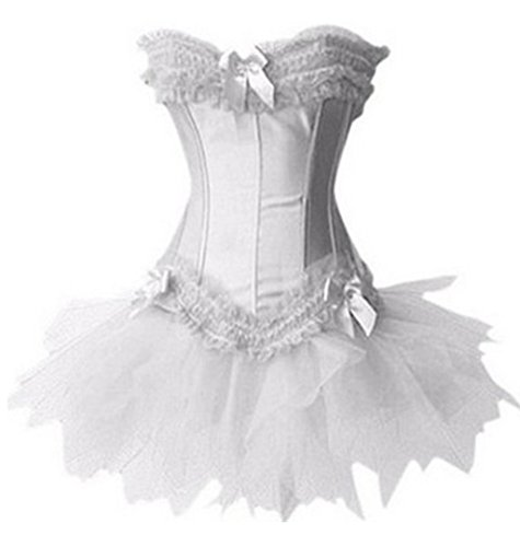 Zanuce Women's Lace Up Boned Corset Bustier TuTu Skirt Fancy Dress Set,White,6X-large