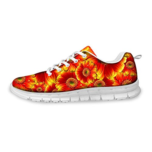 Orange Print Shoes Comfortable Running Floral Vintage Walking A Women's FOR U DESIGNS Rose Sneaker Fashion a7qqn1OX