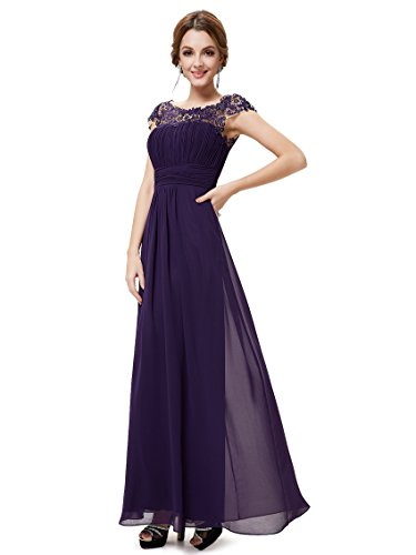 Ever-Pretty Womens Formal Lace Cap Sleeve Long Bridesmaid Dress 8 US Purple