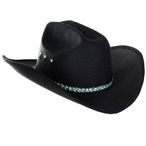 Funny Party Hats Black Cowboy Hat - Wide Brim Cowboy Hat - Western Cowboy Hat - Country Cowboy Hat - Outback Cowboy Hat (Black Cowboy Hat) -