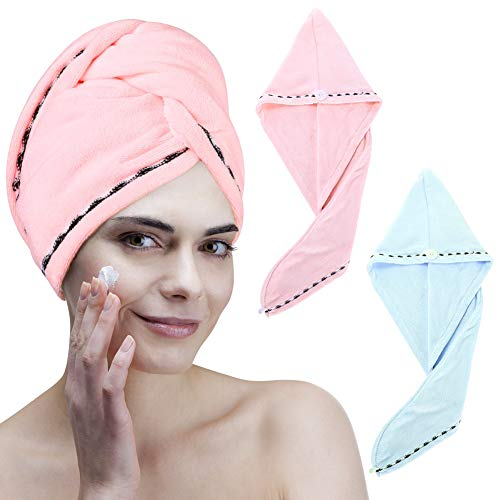 Dry Hair Cap Super Microfiber Towels Drying Hair Towel wipe Hair Quick-Drying Cap Bag Hood Female Long Hair Shower Cap with Button, Quick Dry Magic Hats