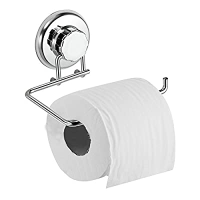 HASKO accessories - Powerful Vacuum Suction Cup Toilet Paper Holder – Wall Mount Stainless Steel Tissue Roll Dispenser for Bathroom & Kitchen – Can be Mounted on Clean Flat Smooth Surface (Chrome)