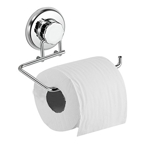 HASKO accessories - Powerful Vacuum Suction Cup Toilet Paper Holder – Wall Mount Stainless Steel Tissue Roll Dispenser for Bathroom & Kitchen – Can be Mounted on Clean Flat Smooth Surface (Chrome) - Suction Cups Stick