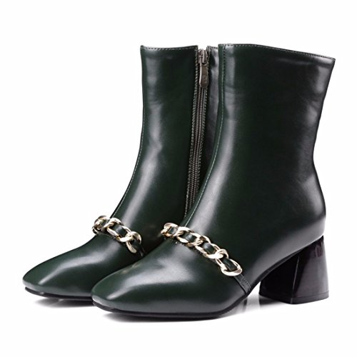 Biker size decoration chain boots Booties Winter killer green lady boots qY8tZw