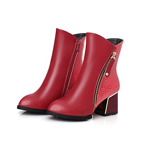 Allhqfashion Kvinners Glidelås Pu Pekte Lukket Tå Kattunge Hæler Diverse Farge Boots Red