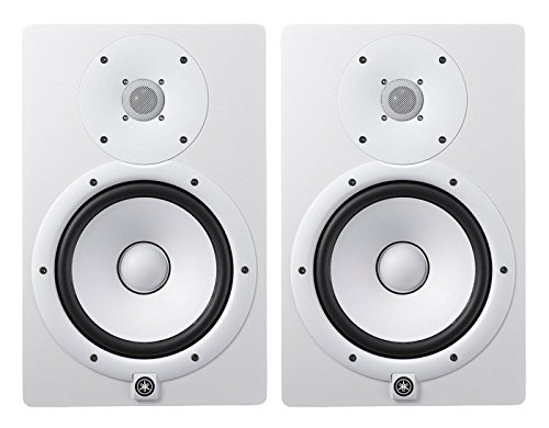 Yamaha HS Series HS8W - 8 Inch 2-way 60W Bass-Reflex Bi-amplified Nearfield Studio Monitor (Pair) in White with 1 Year Free Extended Warranty