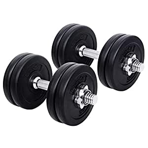 15KG Dumbbell Set Bumbbells Weights Plates Adjustable Home Gym Fitness Exercise Workout Training Bar Hand Rack Bench Press Squat Standard Everfit