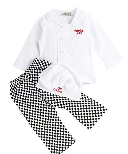 stylesilove Baby Unisex Cook Chef Costume, Pants and Hat 3-pc (90/12-18 Months) White]()