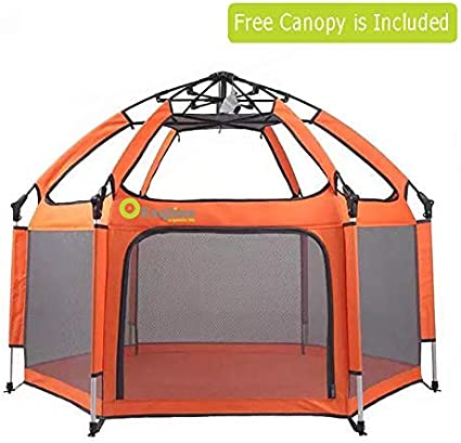 Pop N Play Portable Baby Kids Playard Removable Canopy Heavy Duty Safe Shade