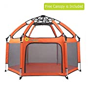 Baby Playpen, Exqline Portable Safety Kids Playpen for Infants and Babies, Foldable and Compact Best 6-Panel Baby Playard for Indoor and Outdoor[2018 Updated New Version]