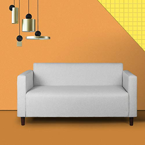 - Mid-Century Modern Upholstered Fabric Loveseat Sofa/Couch, 2-seat Loveseats Suitable for Small Spaces (Light Grey 1)
