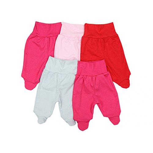 5er Set Baby Strampelhose Babyhose mit Fuß und breitem Bund Strampler Mädchen Stramplerhose Junge, Farbe: Mädchen 2, Größe: 68