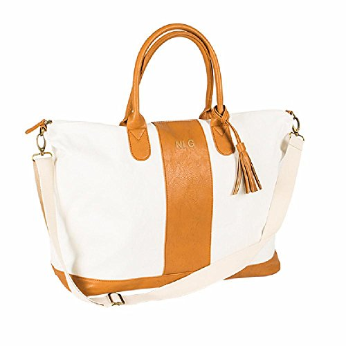 Brown Striped Faux Leather Oversized Weekender Tote Bag (3 Block Letter)