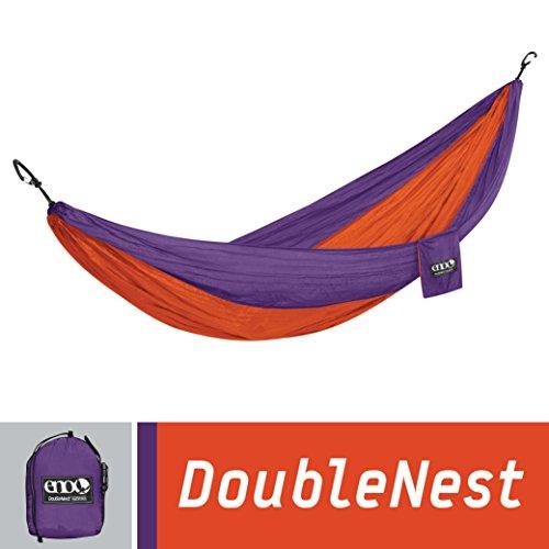 ENO Eagles Nest Outfitters - DoubleNest Hammock, Portable Hammock for Two, Orange/Violet - Orange Violet