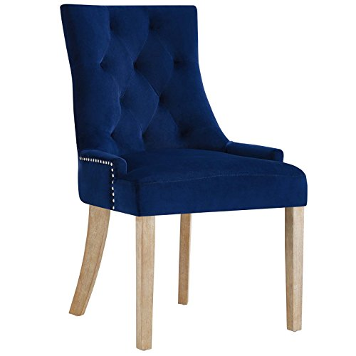- Modway Pose Velvet Polyester Upholstered Tufted Dining Chair with Nailhead Trim, in Navy