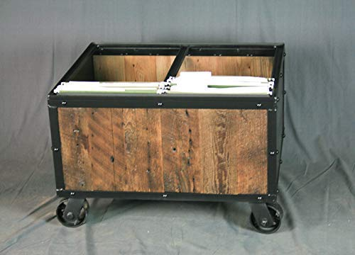 Reclaimed Wood Industrial File Cart. Rolling. Vintage Industrial. Steel. Rustic & Modern Office Furniture. Handmade…