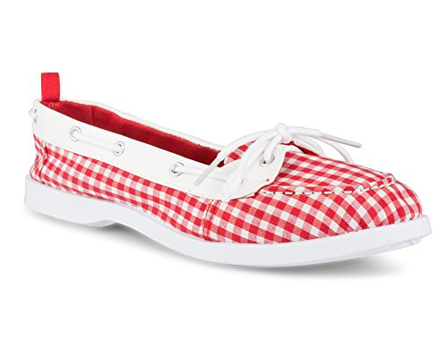 Twisted Women's Bonnie Faux Leather Trim Boat Shoe Red Gingham