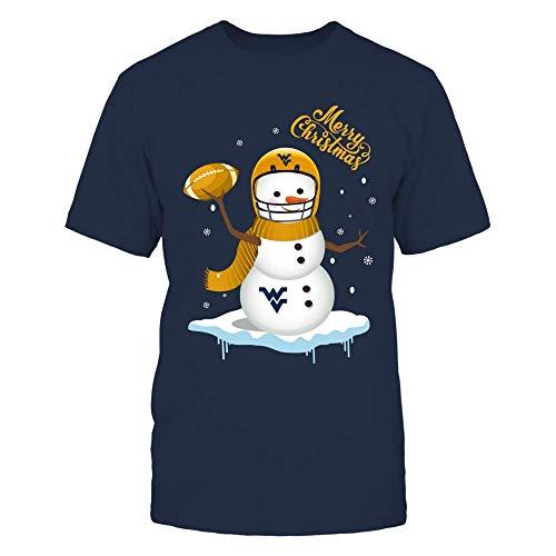 FanPrint West Virginia Mountaineers T-Shirt - Snowman in Football Jersey - Men's Tee/Navy / 3XL