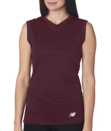 New Balance Ladies Ndurance Athletic V-Neck Workout T-Shirt rot - Maroon