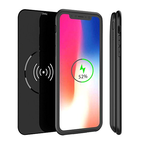 iPhone X Battery Case 5000mAh QI Wireless Charger power bank, 2in1 Rechargeable Extended Protective Charging Case for iPhone X, External Portable Battery Pack for Wireless Charging Devices (Black)
