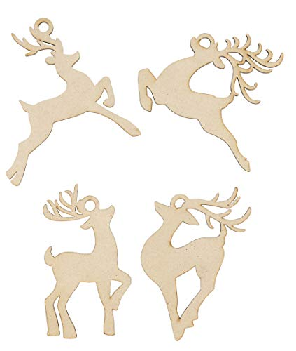 Unfinished Wooden Christmas Ornaments - 24-Pack Paintable Blank Xmas Tree Hanging Wood Slices for Kids DIY Art Crafts, Festive Decoration, 4 Assorted Reindeer Designs, 4.3 x 4.25 x 0.1 -