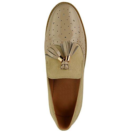 Zapatos Vintage Oficina Escuela Mujer Ante Color Carne Borla Mocasines Oxford Zapatos Talla Charol Planos 0wxdTx