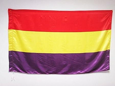 BANDERA ESPAÑA REPUBLICANA SIN ESCUDO 150x90cm en RASO para palo - BANDERA DE LA REPUBLICA ESPAÑOLA 90 x 150 cm - AZ FLAG: Amazon.es: Hogar