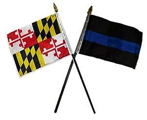 """Estado de Maryland W/Policía línea azul banderas 4""""x6"""" para juego de mesa Base de color negro colores vivos y ultravioleta resistente a la decoloración–cabecera y poliéster MATERIAL"""