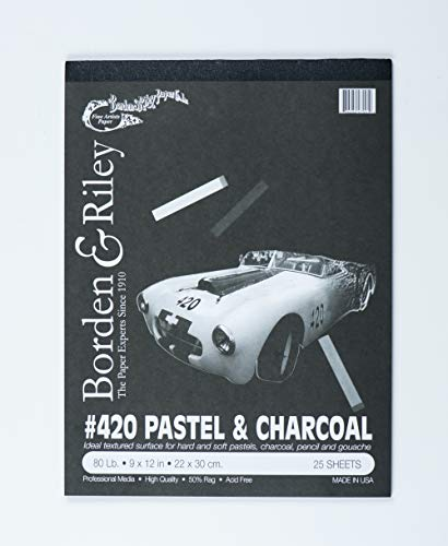 - Borden & Riley #420 Charcoal and Pastel Pad, 9 x 12 Inches, 80 lb, 25 Portrait-Black Sheets, 1 Pad Each (420P091225)