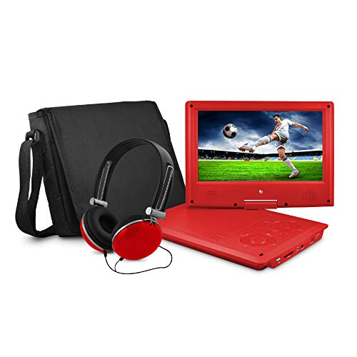 (Ematic Portable DVD Player with 9-inch LCD Swivel Screen, Travel Bag and Headphones, Red)