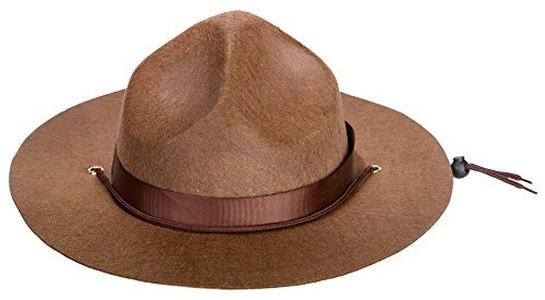 Kangaroo Adult Canadian Mountie Hat, Park Ranger Hat or Drill Sergeant Brown (Brown Chin Strap)