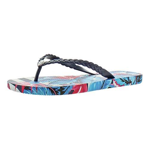 Tommy Bahama Women's Whykiki Print Slip On Thong Flip Flop Sandal Navy Size 9