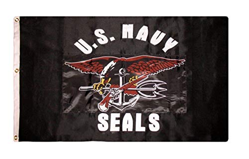 ALBATROS 3 ft x 5 ft Embroidered Black Navy Seals 600D Nylon Flag Banner for Home and Parades, Official Party, All Weather Indoors Outdoors