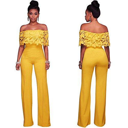 largo della merletto alta pagliaccetti al lunghi Jahurto pantaloni larga vita della balzano spalla del donne floreale tute Le Yellow i gamba a le i qcABpBI6t