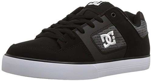 DC Men's Pure SE Skate Shoe, Black/Heather Grey, 11 D D US
