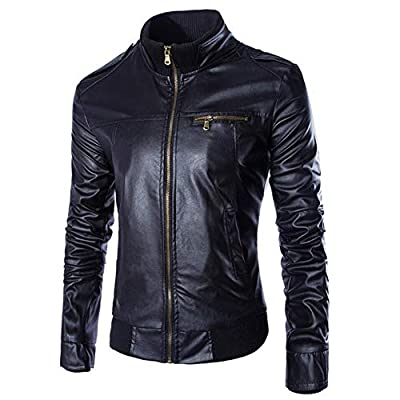 GOVOW Black Leather Jacket for Men Costume Autumn Winter Casual Long Sleeve Solid Stand Zipper Top