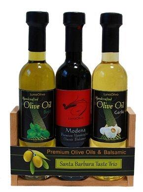 Santa Barbara Taste Trio - Basil Olive Oil, Modena Barrel Aged Balsamic and Garlic Olive Oil