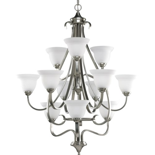 Progress Lighting P4419-09 12-Light Three-Tier Torino Chandelier, Brushed ()