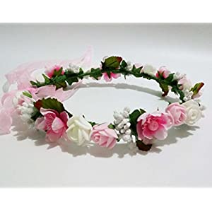 Hippy Decorative PE Foam Rose Flower Girl Crown Flowers Headband Wreath Garland Floral Headpieces Hippie Wedding Hair Band Piece Accessories for Brides Pink and White 112