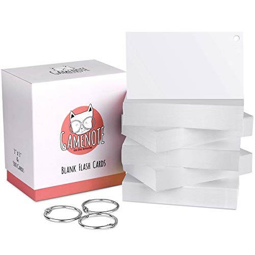 Gamenote Blank Flash Cards with Rings 3 x 5 Inch Classic White - 500 Index Card Hole Punch for Note Memory Office School Classroom Supplies