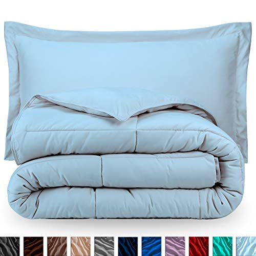 Bare Home Comforter Set - Twin/Twin Extra Long - Goose Down Alternative - Ultra-Soft - Premium 1800 Series - Hypoallergenic - All Season Breathable Warmth (Twin/Twin XL, Light Blue)