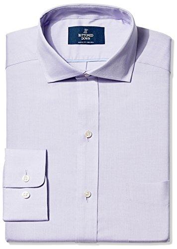 BUTTONED DOWN Men's Classic Fit Cutaway-Collar Non-Iron Dress Shirt (Pocket), Purple, 18