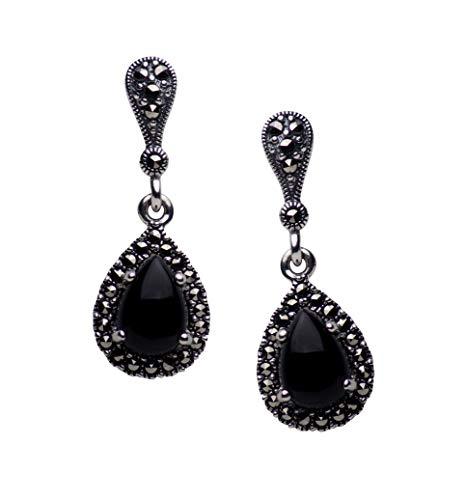 Sterling Silver Synthetic Black Onyx & Marcasite Teardrop Earrings