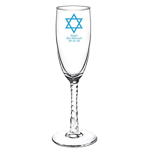 (Personalized Color Printed Twisted Stem Champagne Flute - Star of David - Blue - 72 pack)