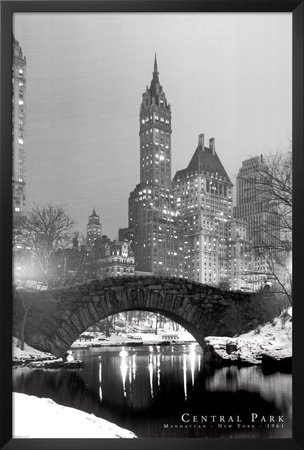 Framed central park in snow black white photograph 36x24 art print poster wall decor new
